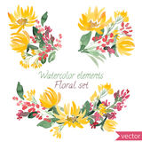 Set of watercolor flowers and leaf. Vector collection with leaves and flowers, hand drawing Stock Photography