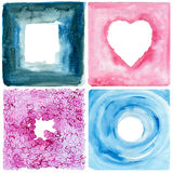 Set of watercolor frames. Watercolor painting. Abstract frames of heart, space, flowers and water Stock Photo