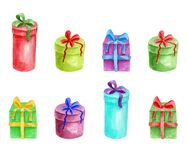 Set of watercolor gift boxes. Hand painted colorful presents with ribbon isolated on white background. Stock