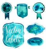 Set of watercolor green and blue badges and labels Royalty Free Stock Photography