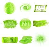 Set of watercolor green logo. royalty free illustration