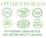 Set of watercolor green logos. Leaves, frames, lettering, badges. Set of watercolor green logos. Sign label ,textured emblem set. Green life, 100% ecology vector illustration