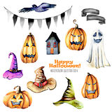 Set of watercolor Halloween objects pumpkins and old hats, spooks, black bird and other. Hand painted isolated on a white background stock illustration