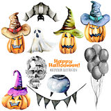 Set of watercolor Halloween objects  pumpkins in old hats, spooks, skull, pot and other Stock Image