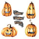 Set of watercolor Halloween pumpkins Royalty Free Stock Images