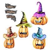 Set of watercolor Halloween pumpkins in old hats Royalty Free Stock Image