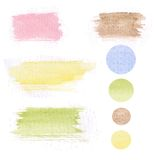 Set of watercolor hand drawn brush blobs, white. Background. Vector design pastel color Stock Photo