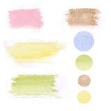 Set of watercolor hand drawn brush blobs, white Stock Photo