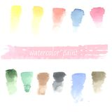 Set of watercolor hand drawn brush blobs, white Stock Photography