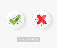 Set of watercolor hand drawn check mark buttons Stock Photography