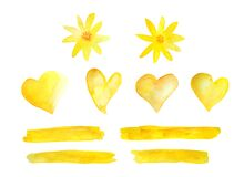 Set of watercolor hand drawn design elements, hearts stripes lines daisy flowers. Illustration in warm sunny yellow