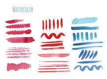 Set of watercolor hand-painted a brush. Vector. Illustration Royalty Free Stock Images