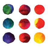 Set of watercolor hand painted gradient circles isolated on white. Wet watercolor elements in vibrant colors for design vector illustration