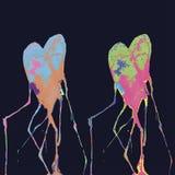 Set of watercolor handdrawn hearts. Colorful ink drops. vector illustration