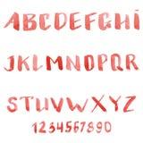 Set of watercolor handwriting font Stock Image