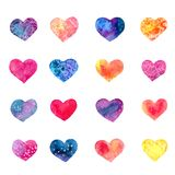 Set of watercolor hearts. Collection of decorative hand drawn elements for valentine day and wedding design on white background Stock Photos