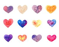 Set of watercolor hearts. Collection of decorative hand drawn elements for valentine day and wedding design on white background Royalty Free Stock Photo