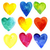 Set of watercolor hearts of different colors. Isolated on white background. For medicine, romantic postcards, posters and designs Royalty Free Illustration