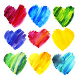 Set of watercolor hearts of different colors. Royalty Free Stock Photography