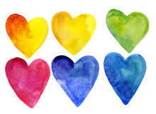 Set of watercolor hearts of different colors. Isolated on white background. For medicine, romantic postcards, posters and designs Stock Illustration