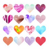Set of watercolor hearts of different colors and textures. Elements for packaging. Postcards, flyers and invitations to a holiday Valentine Royalty Free Illustration