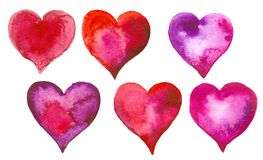 Set of watercolor hearts Royalty Free Stock Photography