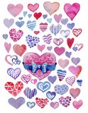 Set of watercolor hearts. Hand-drawn various hearts isolated on white background. Wedding or Valentine. Heart with bow. Set watercolor hearts. Hand-drawn various stock illustration
