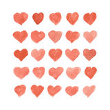Set of watercolor hearts. Hand-drawn various isolated on white background. Wedding or Valentine's template. Set of watercolor hearts. Hand-drawn various hearts Stock Illustration