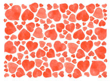 Set of watercolor hearts. Hand-drawn various  isolated on white background. Wedding or Valentine's template. Set of watercolor hearts. Hand-drawn various hearts Stock Photography