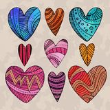 Set of watercolor hearts Royalty Free Stock Image
