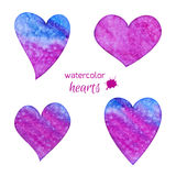 Set of watercolor hearts Stock Photography