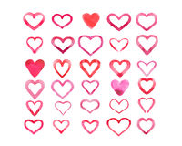 Set of watercolor hearts isolated on white background.  stock illustration