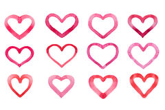 Set of watercolor hearts isolated on white background.  Royalty Free Stock Photo