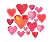 Set of watercolor hearts isolated on white background.  royalty free illustration