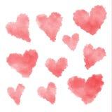 Set of watercolor hearts Stock Photo