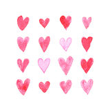 Set of watercolor hearts for romantic post card. Stock Images