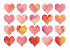 Set of  watercolor  hearts for Valentine`s Day or weddings. For design stock image