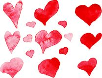 Set of watercolor hearts, vector element Stock Image