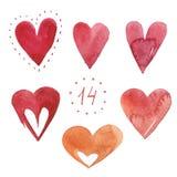 Set of watercolor hearts Royalty Free Stock Photos