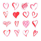 Set of watercolor hearts on white background . Sketch style icon Royalty Free Stock Photo