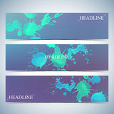 Set of watercolor horizontal backgrounds. Modern business presentation design with place for your text. Vector Illustration Royalty Free Stock Photo