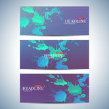 Set of watercolor horizontal backgrounds. Modern page website design template . Vector Illustration Stock Photo