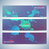Set of watercolor horizontal backgrounds. Modern page website design template . Vector Illustration Stock Image