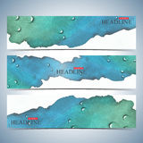 Set of watercolor horizontal backgrounds. Modern page website design template . Vector Illustration Royalty Free Stock Image