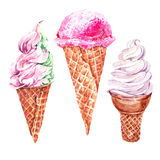 Set of watercolor ice cream stock illustration