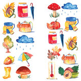 Set of watercolor icons Hello autumn Seasonal sale Stock Images