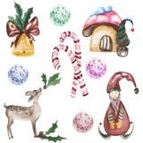Set of watercolor illustration for christmas and new year royalty free illustration