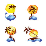 Set of watercolor illustration - palm trees Stock Photo