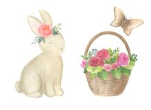 A set of watercolor illustrations: a bunny, a basket of roses, a butterfly.