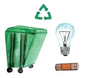 Set of watercolor illustrations - trash can, light bulb, battery stock illustration